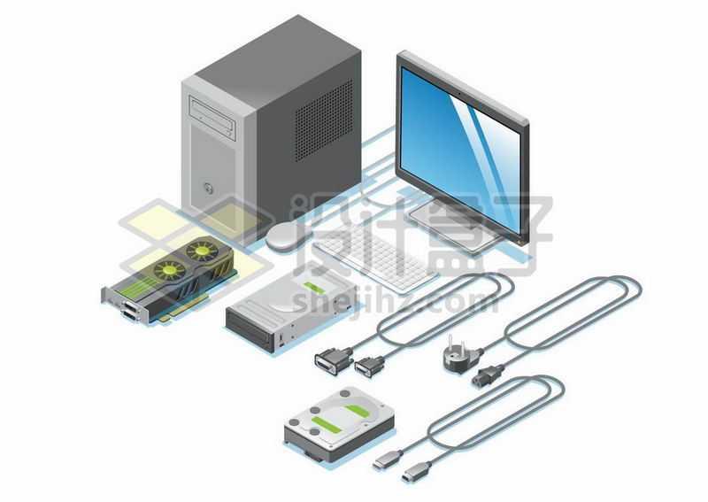 3D风格的台式电脑机箱和显示器显卡光驱硬盘数据线接口等9464218矢量图片免抠素材