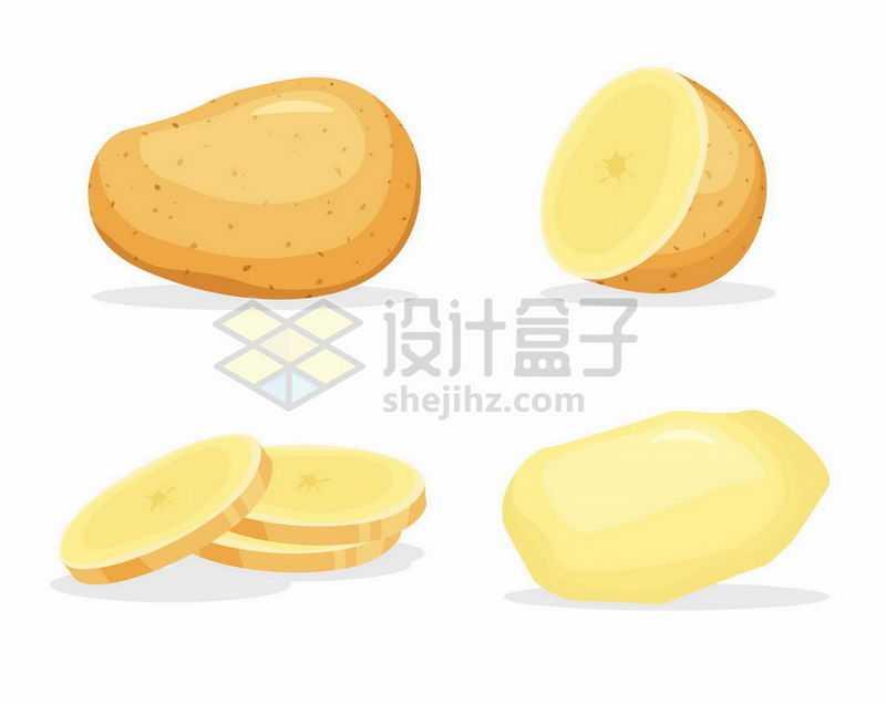 4款卡通土豆削皮和切块的马铃薯6679180矢量图片免抠素材