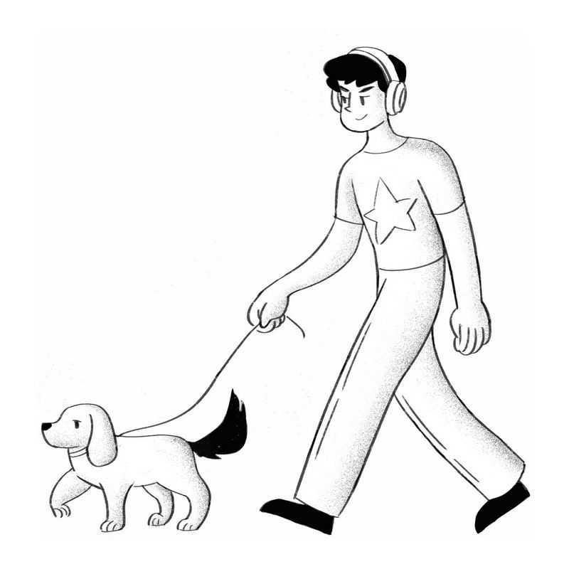 手绘黑白插画风格遛狗的男人1619218PSD图片免抠素材