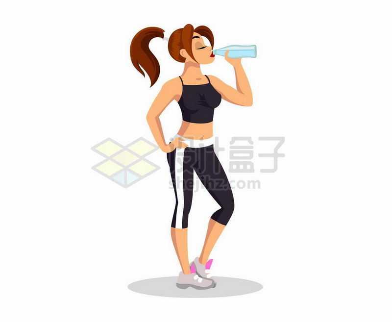 仰着脖子喝水的健身后的女人9952632矢量图片免抠素材
