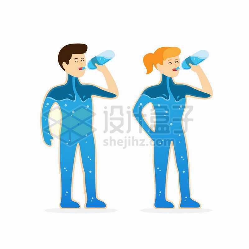 仰着脖子喝水的男人和女人身体由水组成插画9000249矢量图片免抠素材