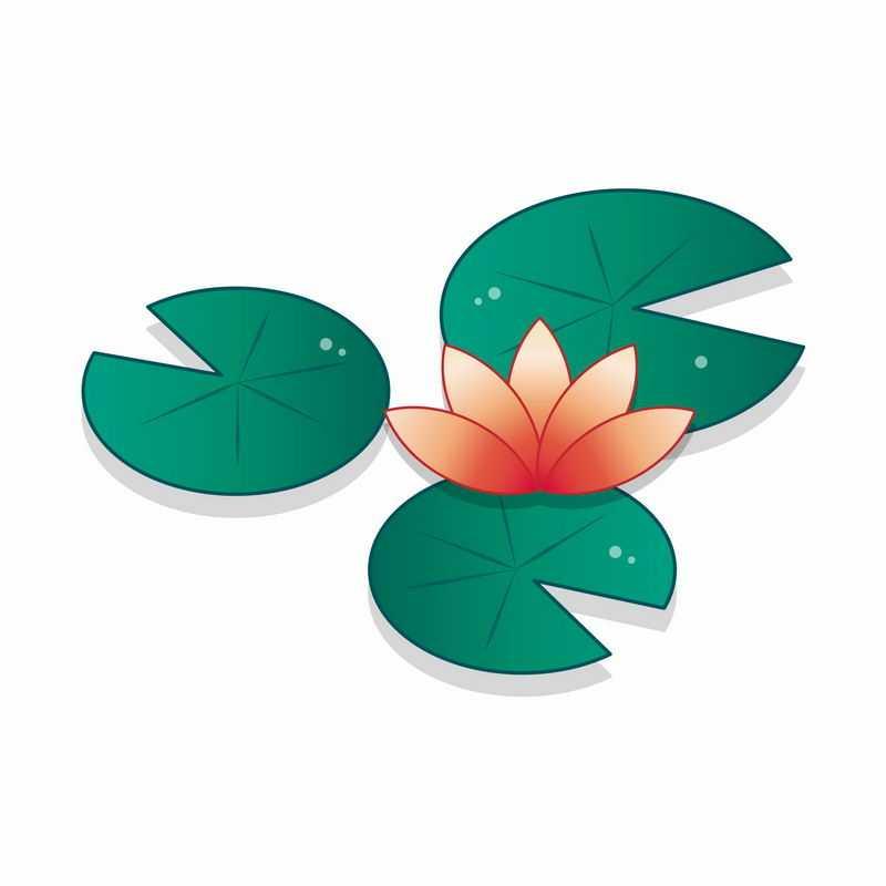 红色莲花和绿色莲叶简约插画8862865矢量图片免抠素材