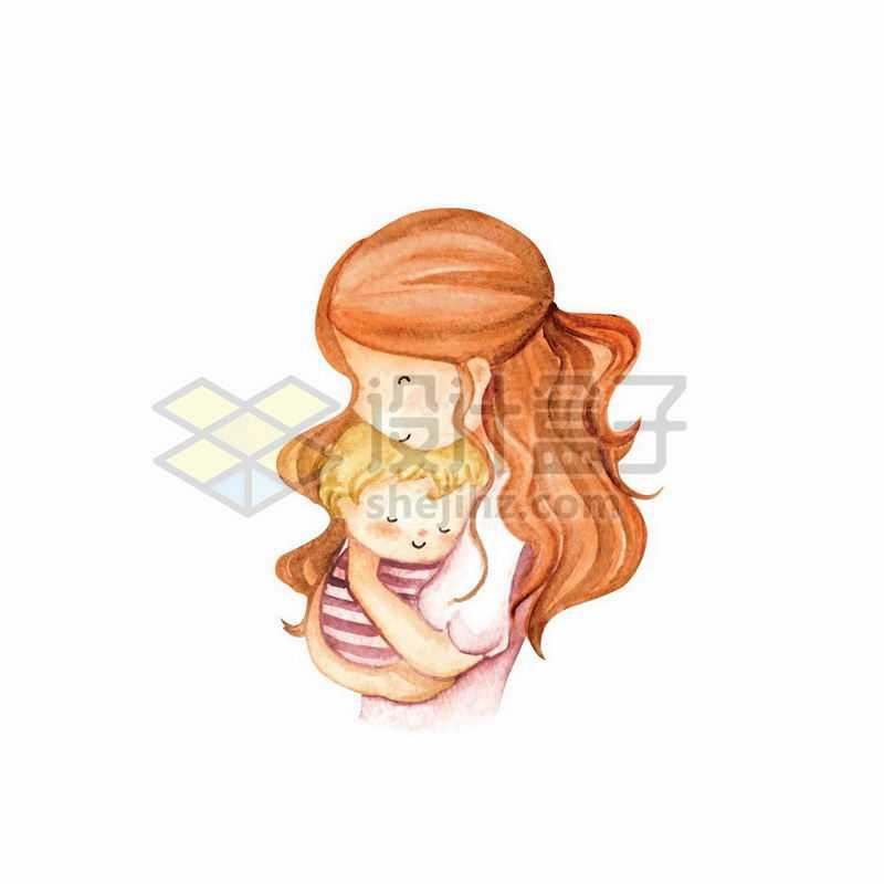 卡通妈妈抱着宝宝手绘插画2038461矢量图片免抠素材