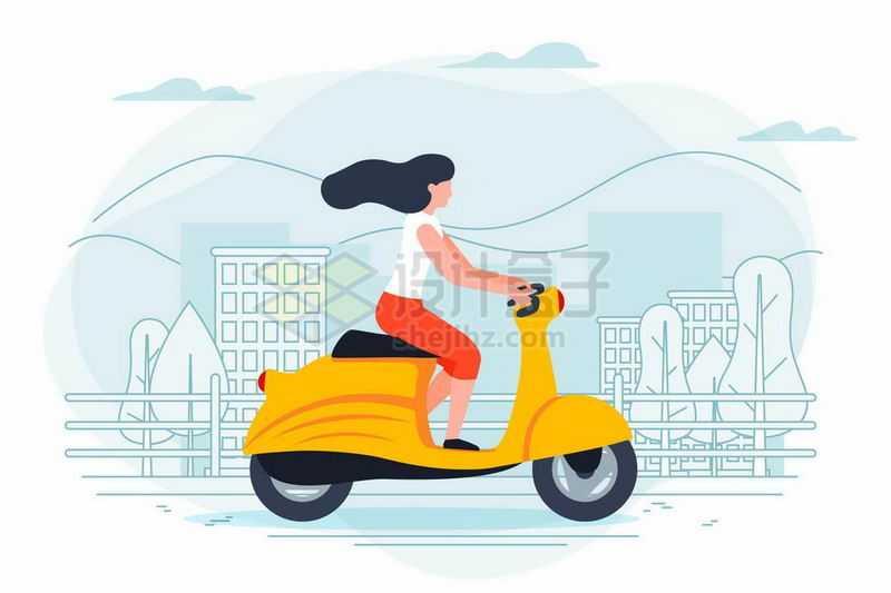 手绘插画风格女人骑摩托车出行8947681矢量图片免抠素材