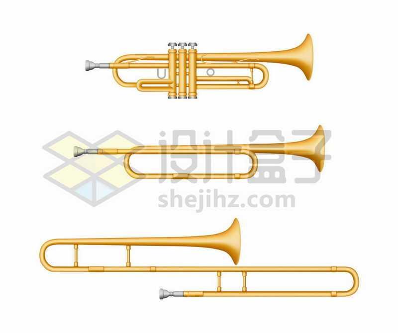 3款金色小号小喇叭铜管乐器西洋乐器9938504矢量图片免抠素材