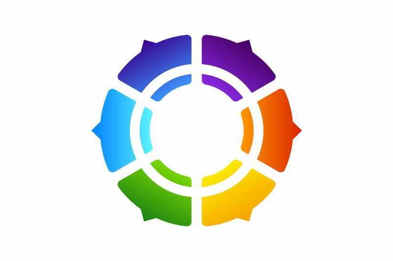 彩色渐变色组成的圆环状PPT信息图表2514963图片免抠素材