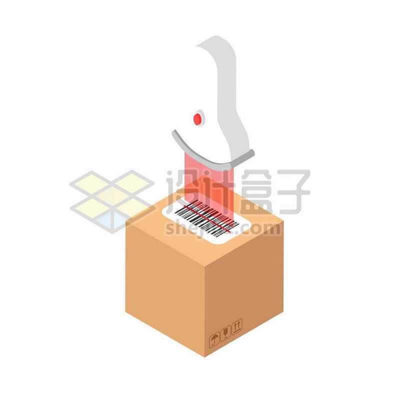 扫码枪正在扫描快件的条形码1408234矢量图片免抠素材