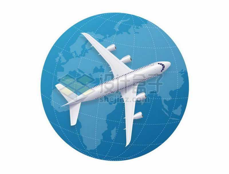 蓝色地球和上面的银白色大型客机俯视图4218836矢量图片免抠素材