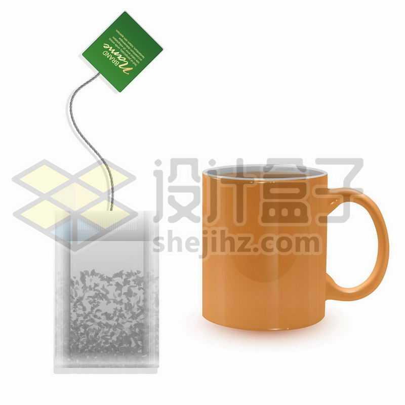 袋装茶叶包泡茶袋和马克杯7726603矢量图片免抠素材
