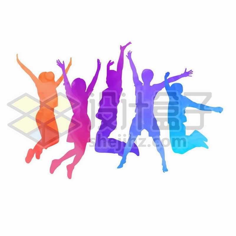 彩色跳跃的年轻人剪影手舞足蹈4338108矢量图片免抠素材