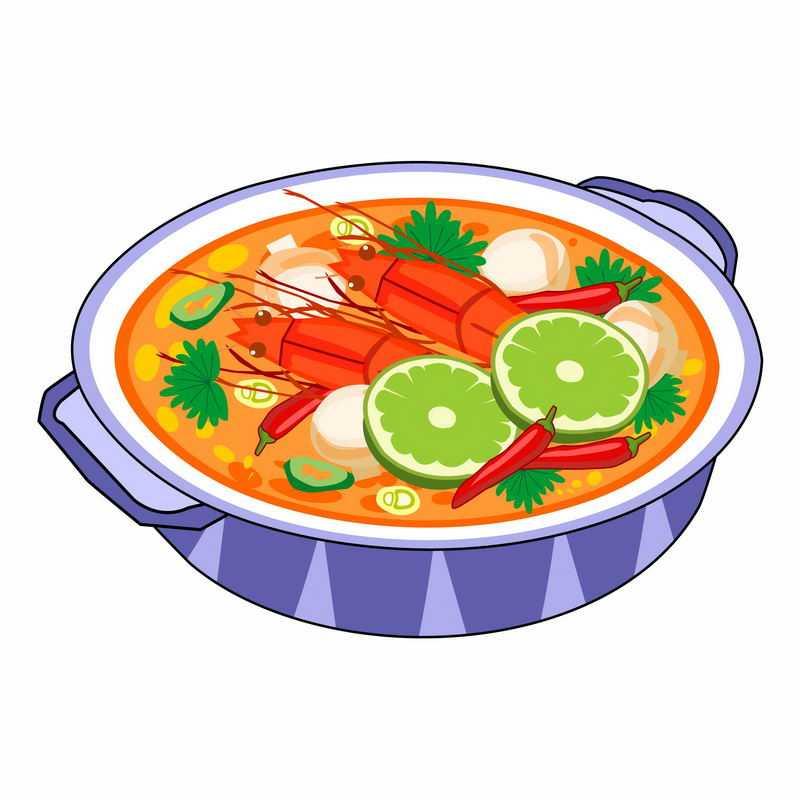 一碗大虾酸辣蘑菇海鲜汤手绘美食9192875矢量图片免抠素材