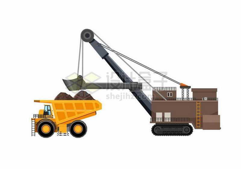黄色的大型矿车和超大型挖掘机挖矿车矿山车辆1183219矢量图片免抠素材