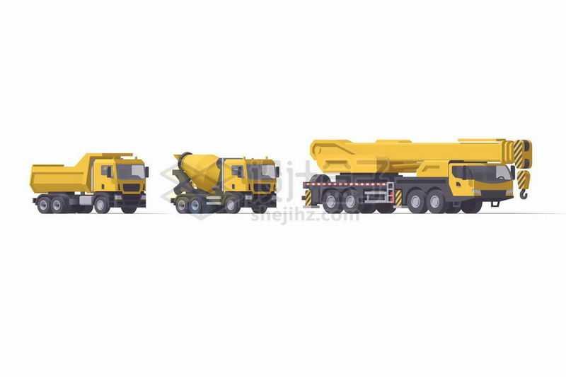 黄色卡通自卸卡车水泥车和重型汽车起重机9328930矢量图片免抠素材