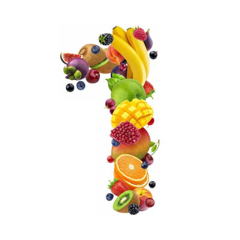 水果组成的数字1猕猴桃无花果香蕉草莓芒果橙子山竹等9364998免抠图片素材