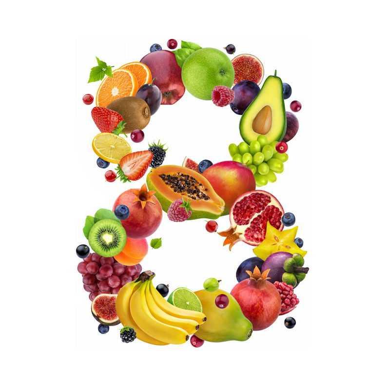 水果组成的数字8橙子草莓百香果葡萄牛油果香蕉石榴等3728849免抠图片素材