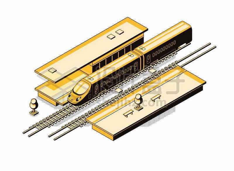 2.5D风格火车站和铁轨高铁列车2075764矢量图片免抠素材