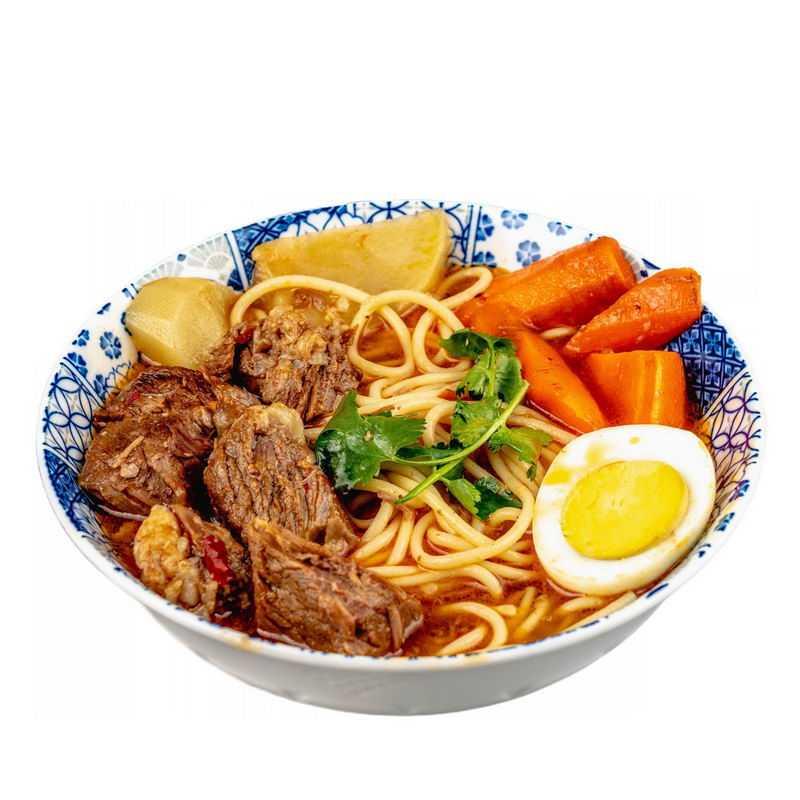 一碗红烧牛肉面加鸡蛋加胡萝卜酱牛肉美味美食8461637png图片免抠素材