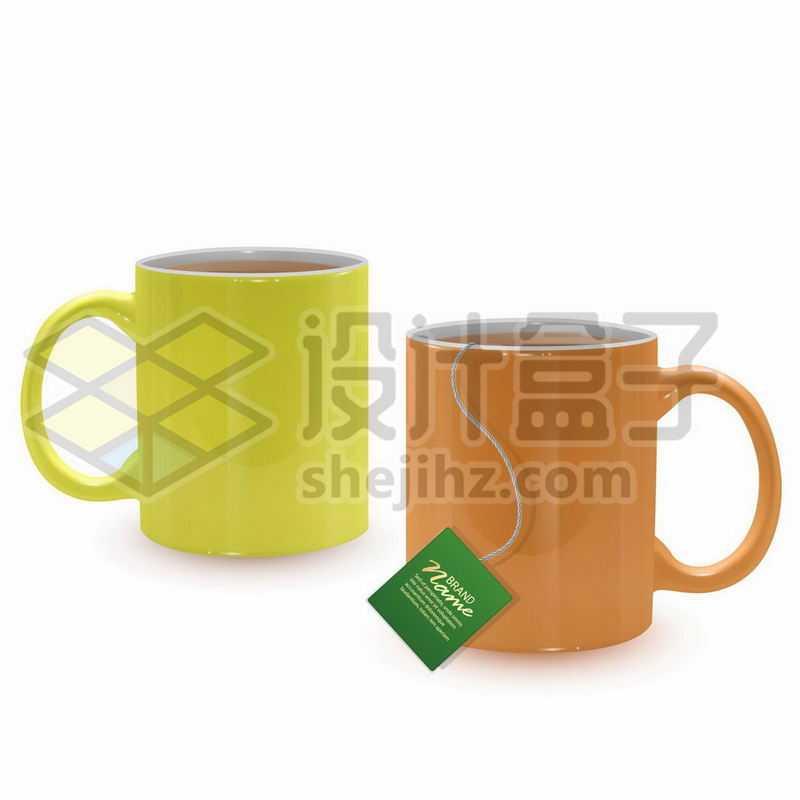 泡着袋装茶叶包泡茶袋的马克杯2910933矢量图片免抠素材