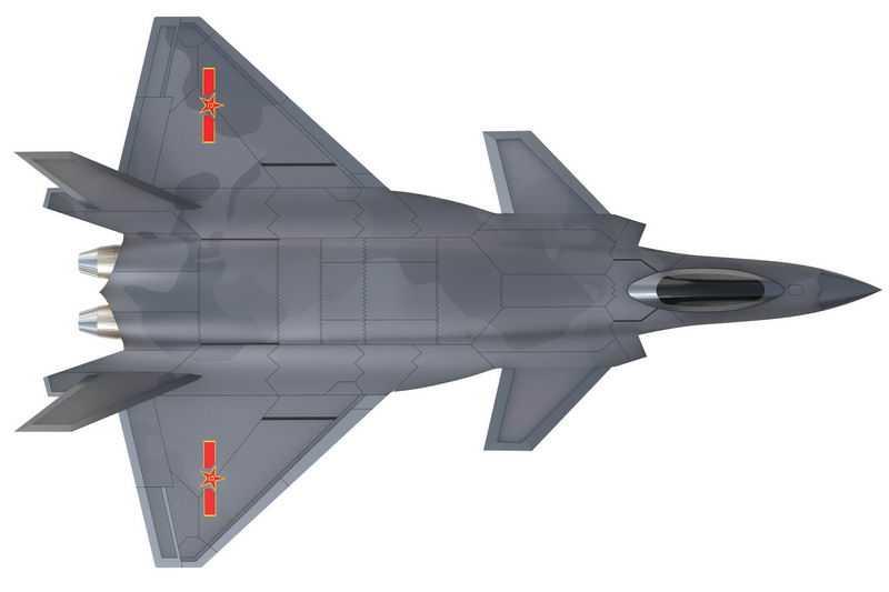 俯视视角的中国空军歼20战斗机4905373png图片免抠素材