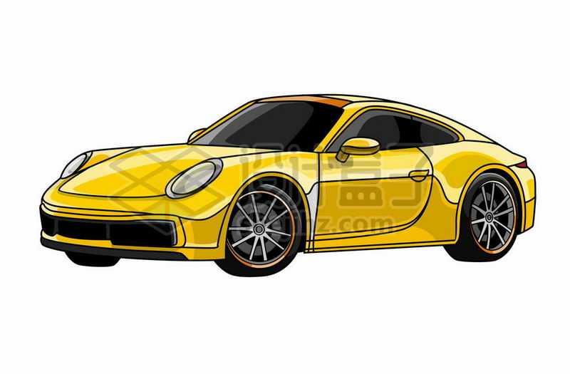 黄色兰博基尼超级跑车手绘插画2400264矢量图片免抠素材