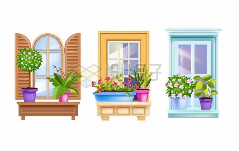 3款复古风格的窗户窗台放了很多花盆4080242矢量图片免抠素材