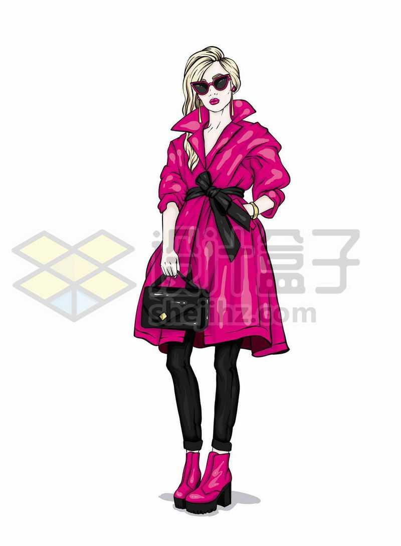 身穿红色大衣的时尚金发美女手绘插画1970843矢量图片免抠素材