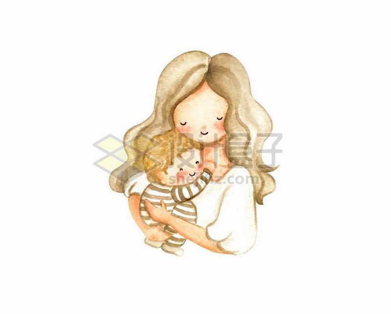 卡通妈妈抱着宝宝手绘插画1462291矢量图片免抠素材