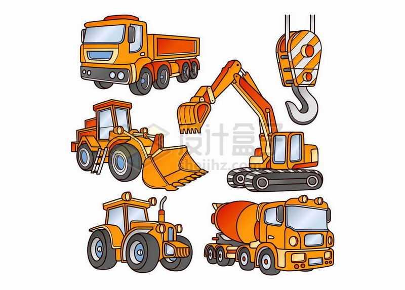 橘黄色的重型卡车挖掘机推土机水泥车拖拉机和吊车弯钩7257611矢量图片免抠素材
