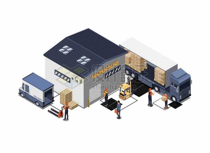 2.5D风格货运卡车正在卸货到仓库中物流货运快递行业6726473矢量图片免抠素材