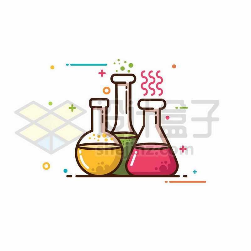 MBE风格烧瓶锥形瓶等化学实验仪器4278125图片免抠素材
