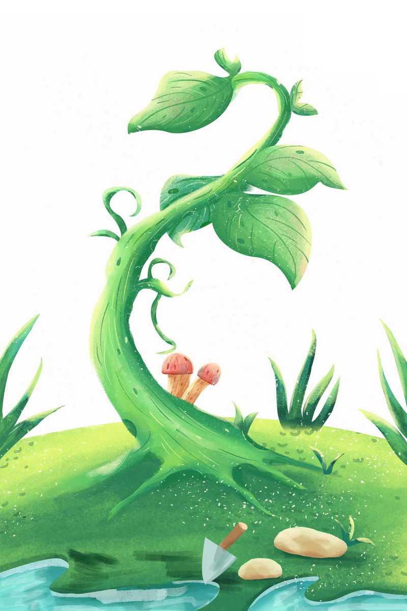 绿色大地和发芽茁壮成长的小树苗植树节插画1101737png图片免抠素材