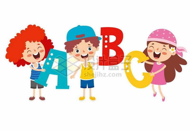3个卡通小孩拿着字母ABC象征了英语学习9749519矢量图片免抠素材