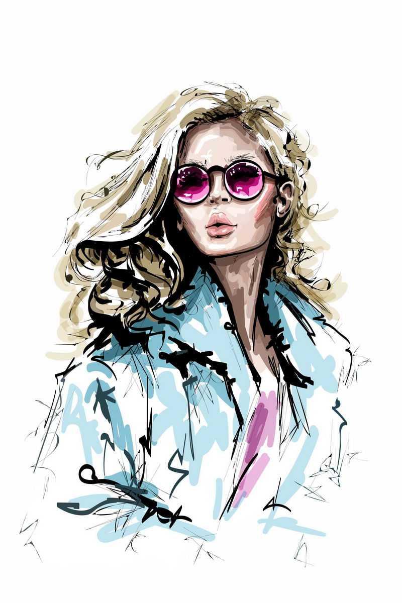 泼墨风格时尚女模特金发美女手绘头像插画7200839图片免抠素材