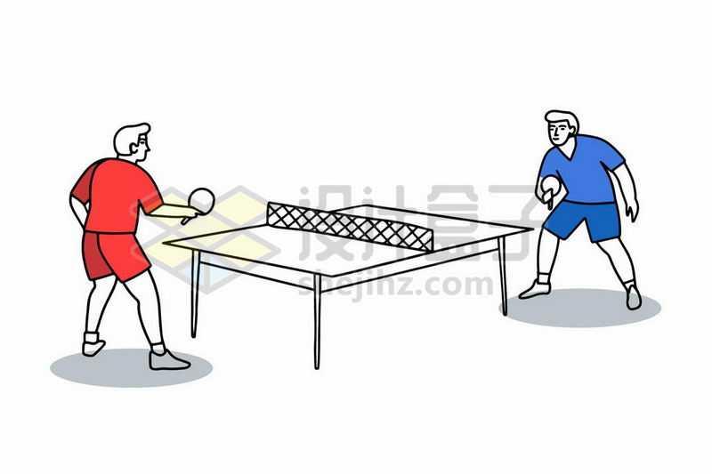 打乒乓球的运动员手绘插画8913597矢量图片免抠素材