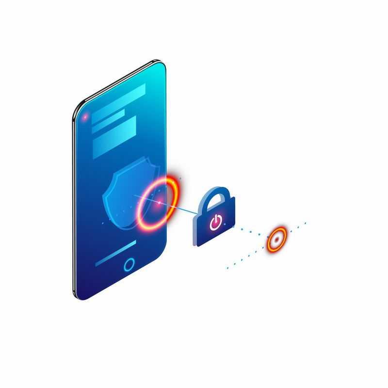 蓝色手机上的挂锁和发光光圈象征了手机安全信息安全8940349矢量图片免抠素材