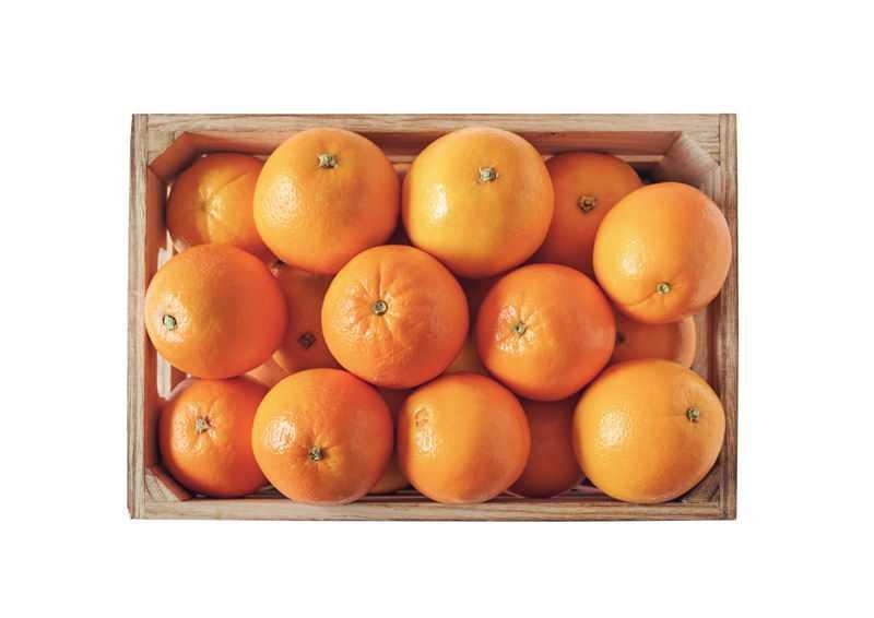 俯视视角木框中的橙子橘子脐橙美味水果2078240免抠图片素材