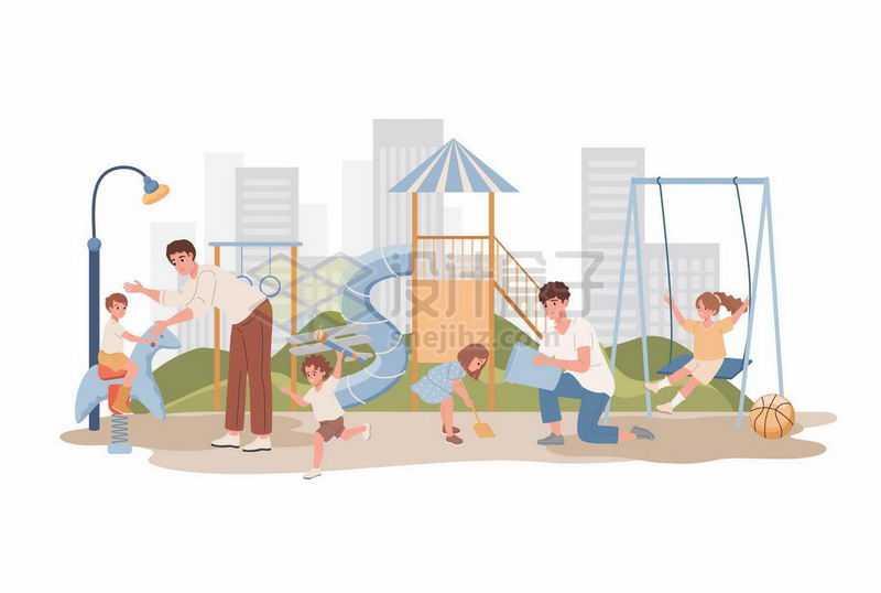 卡通爸爸带着女儿在游乐场玩耍亲子关系2335881矢量图片免抠素材