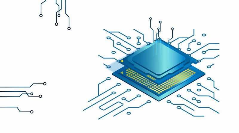 蓝色的处理器CPU和底座电路2902956矢量图片免抠素材