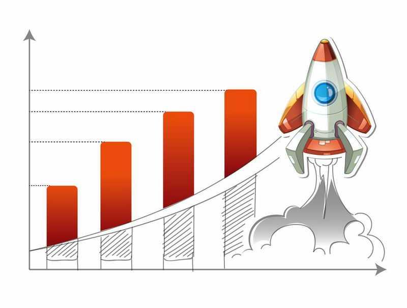 增长数据和卡通火箭正在起飞象征了数据增长速度很快4396448图片免抠素材