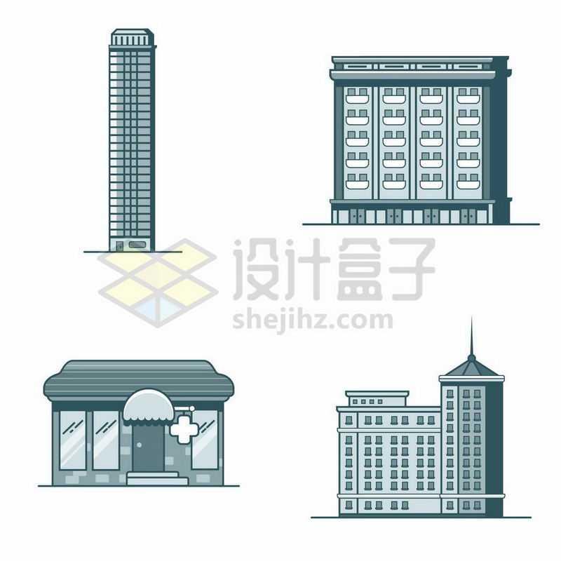 4款单色MBE风格的卡通高楼大厦居民楼等建筑8286984矢量图片免抠素材