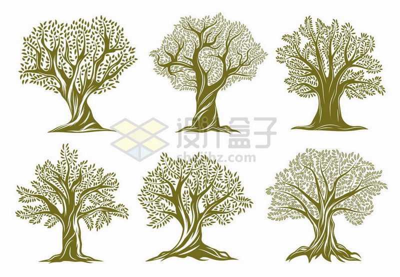 6款复古风格的大树logo图案8370953矢量图片免抠素材