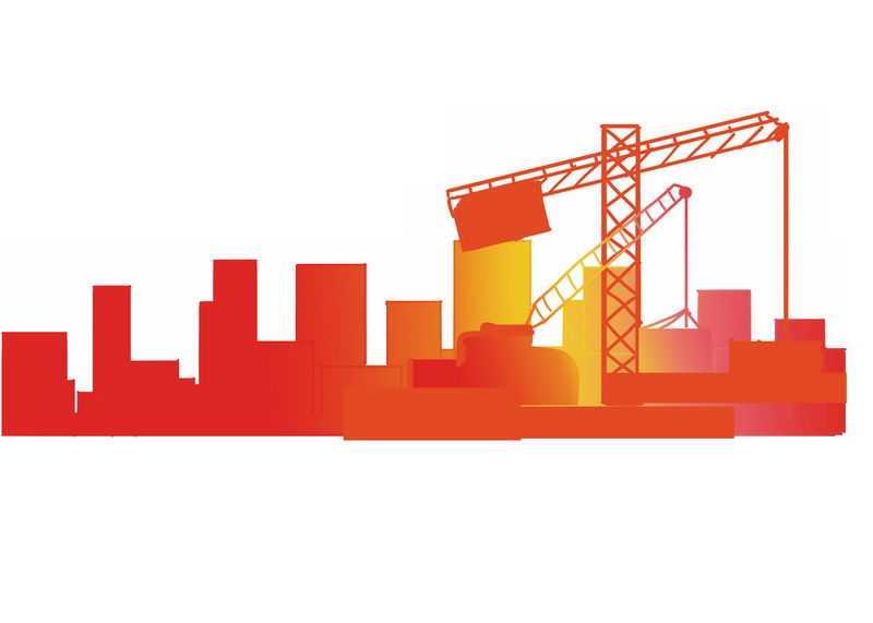 红色黄色渐变色风格建筑工地吊塔剪影6825484PSD图片免抠素材