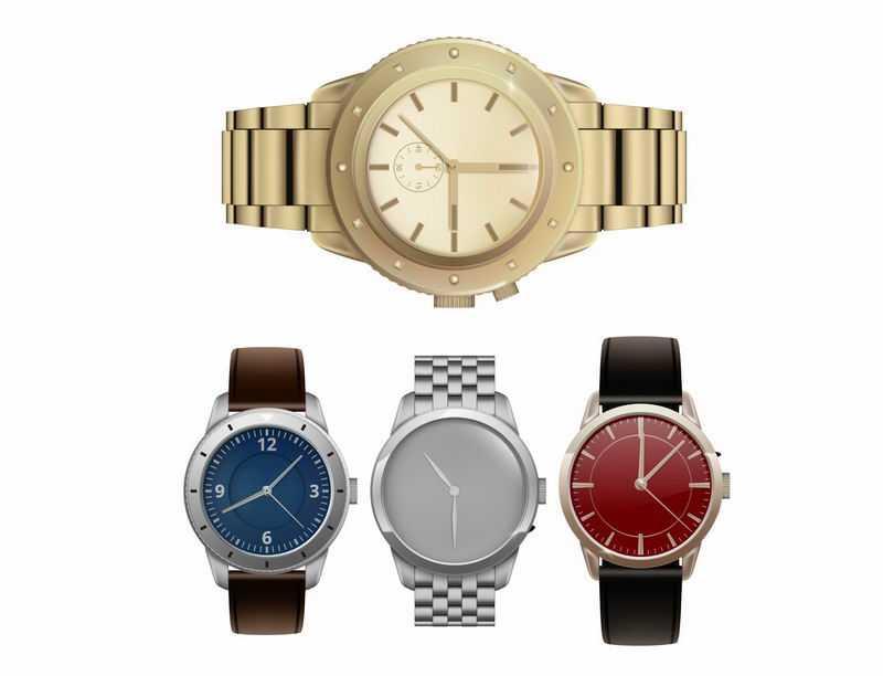 逼真的4款金表机械石英手表奢侈品9871354图片免抠素材