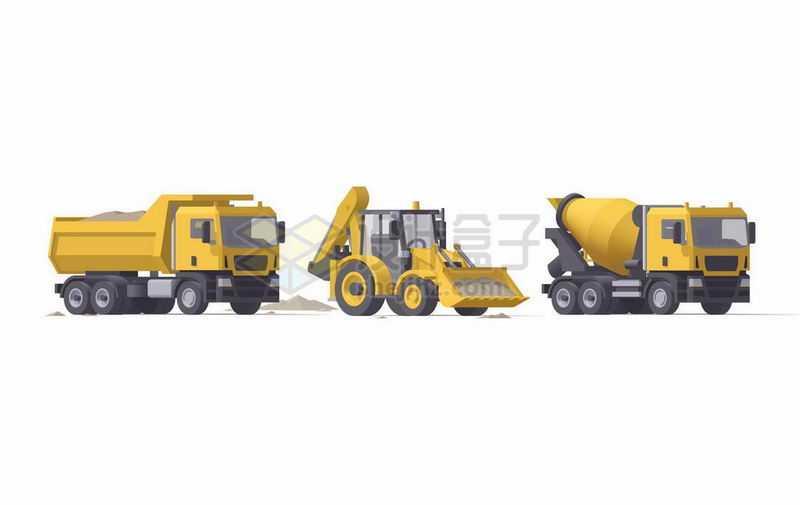 黄色卡通水泥车铲车和自卸卡车8140703矢量图片免抠素材