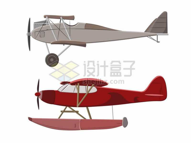 两架古老的双翼螺旋桨飞机和水上飞机侧面图5649704矢量图片免抠素材