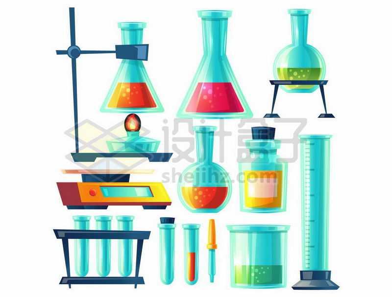卡通风格酒精灯和锥形瓶烧瓶试管烧杯量筒等化学实验仪器8677985图片免抠素材