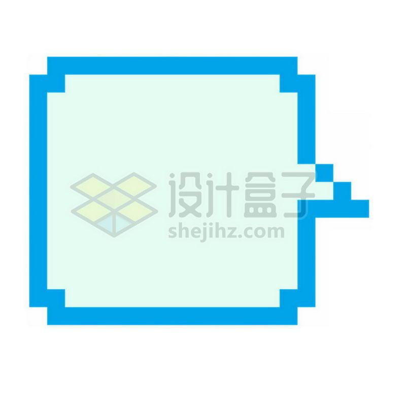 蓝色像素风格的对话框8760277免抠图片素材 边框纹理-第1张
