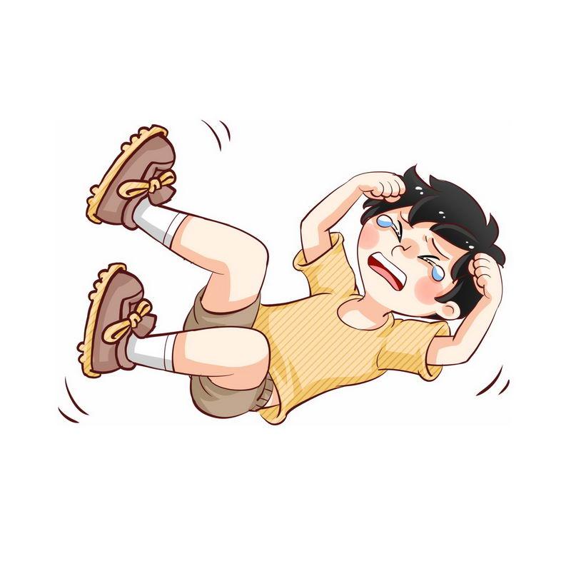 在地上打滚撒泼哭闹没教养的卡通小男孩4233038图片素材 人物素材-第1张