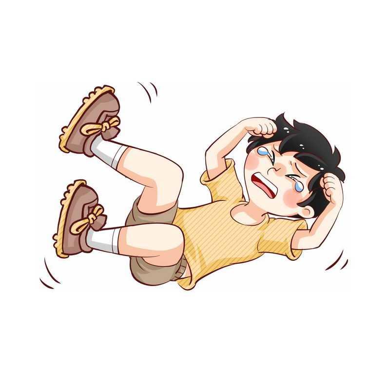 在地上打滚撒泼哭闹没教养的卡通小男孩4233038图片素材