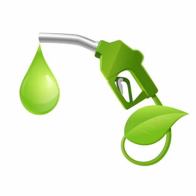 抽象绿色树叶和加油枪象征了绿色能源7008814矢量图片免抠素材